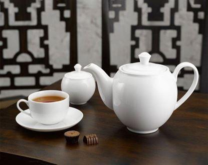 Hình ảnh của Bộ trà 1.1 L (Bộ 6 tách/đĩa) - Camellia - Trắng